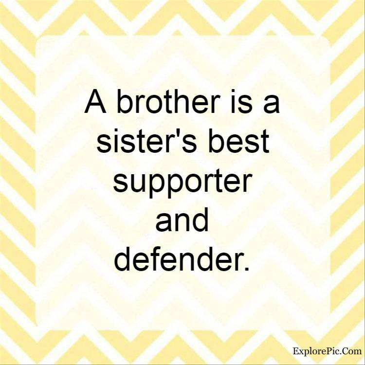love brother quotes - A brother is a sister's best supporter and defender.