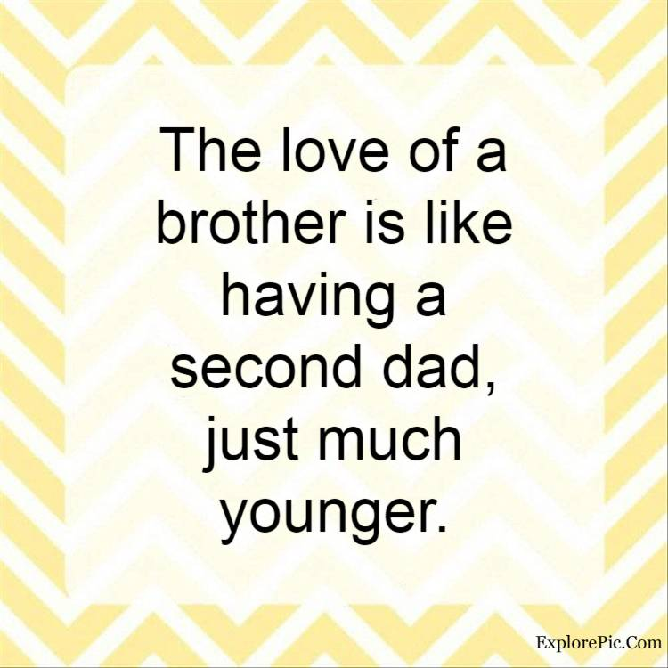 my brothers quotes - The love of a brother is like having a second dad, just much younger.