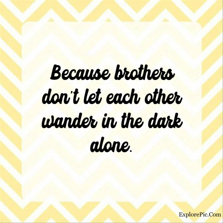best brother quotes - Because brothers don't let each other wander in the dark alone.