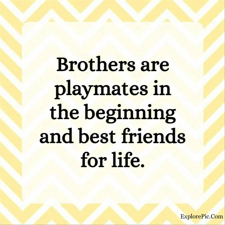 step brother quotes - Brothers are playmates in the beginning and best friends for life.