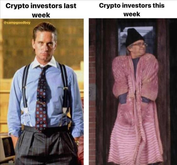 """52 Hilarious Funny Memes Of All Time - Ridiculous Memes """"Crypto investors last week crypto investors this week"""""""