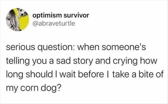 """55 Funniest Twitter Quotes Of The Week - Meme Funny Silly Memes """"Serious question: When someone's telling you a sad story and crying how long should I wait before I take a bite of my corn dog?"""""""