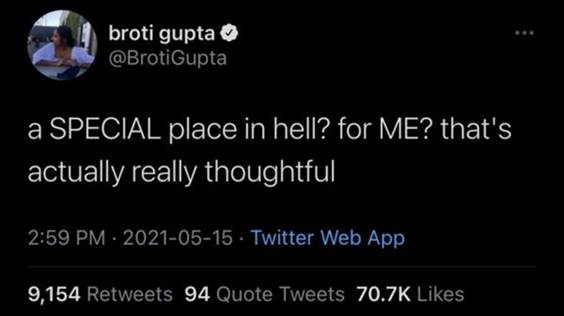 """55 Funniest Twitter Quotes Of The Week - Crazy Meme """"A special place in hell? For me? That's actually really thoughtful"""""""