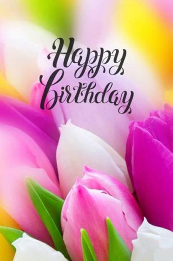 happy birthday cake and bouquet